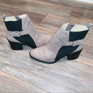 Gorgeous ZARA taupe and black booties with zipper